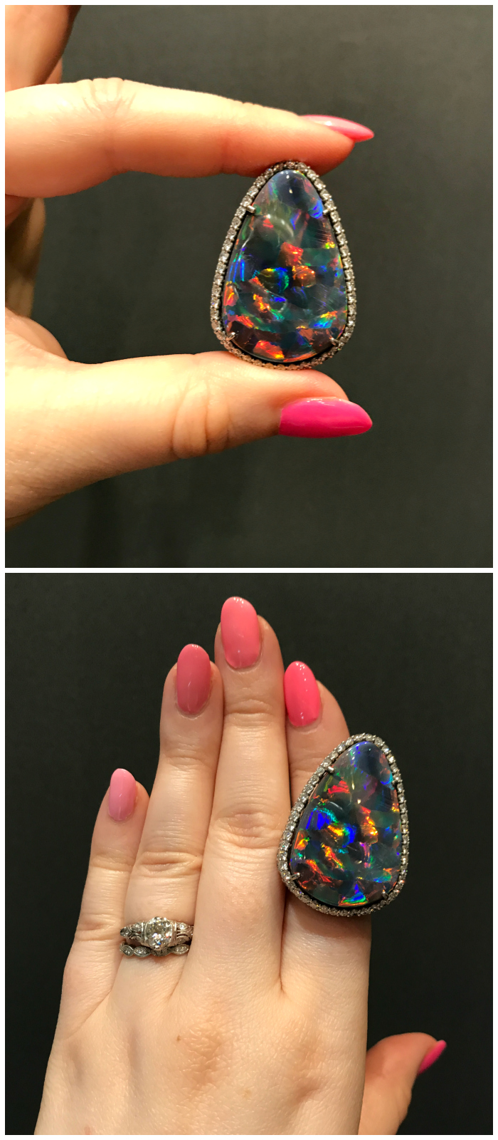 This V Tse Jewelry ring features an exceptionally rare harlequin opal. Such a beautiful gemstone!