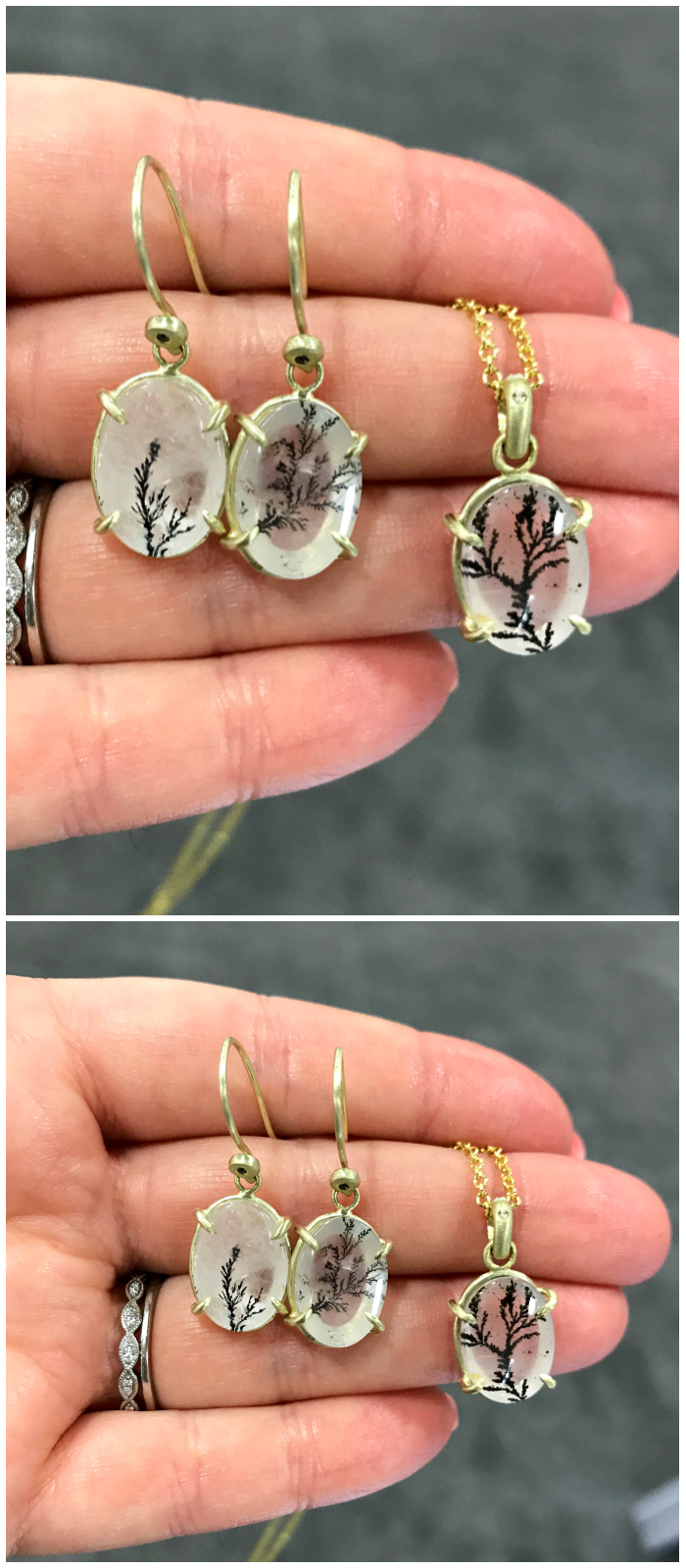 Three beautiful pieces of dendritic quartz jewelry from Judi Powers.