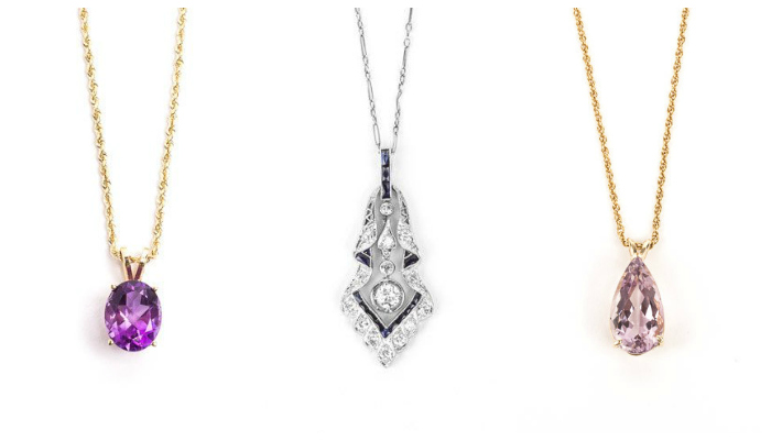 Three beautiful pre-loved necklaces from STORE 5a. Two amethyst, one sapphire and diamond.