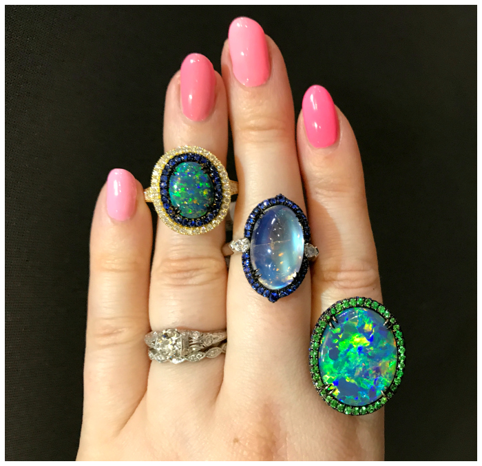 Three spectacular rings from Omi Prive! Two opals and a moonstone. Beautiful.