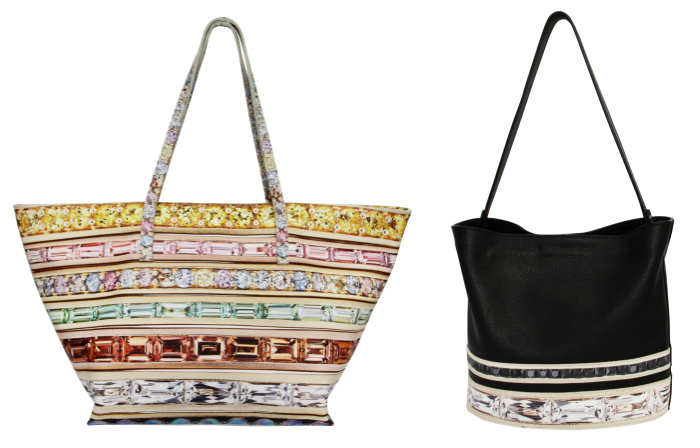 Two beautiful gemstone-inspired leather bags from the Paige Gamble x Jane Taylor Jewelry collaboration.