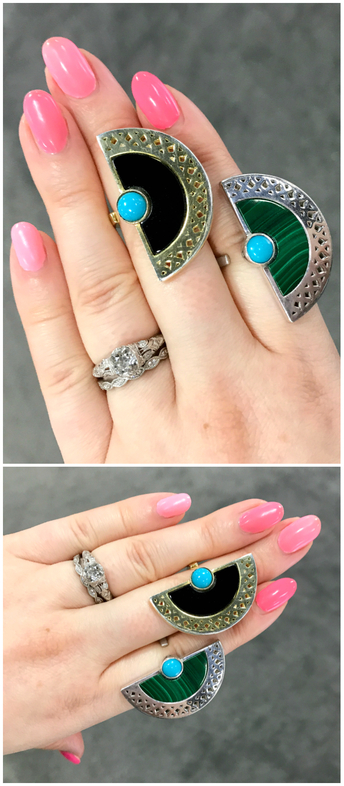 Two fantastic rings by designer Lillian Ismail - onyx, turquoise, and malachite in gold. I love this modern Art Deco vibe.