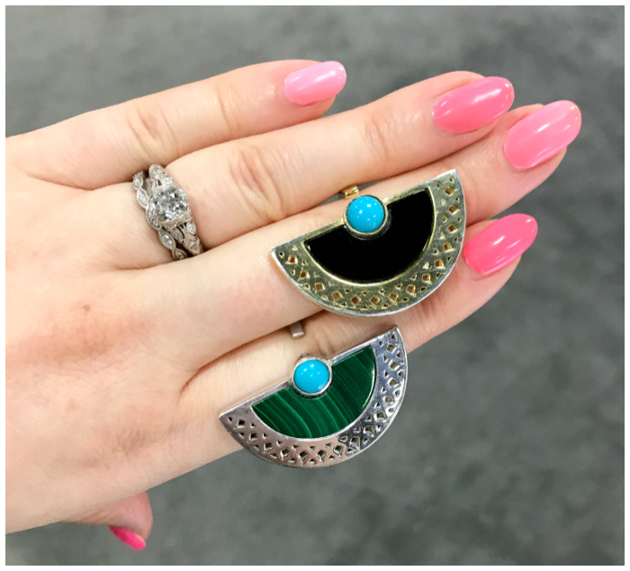 Two fantastic rings by designer Lillian Ismail - onyx, turquoise, and malachite in gold. I love this modern Art Deco vibe!