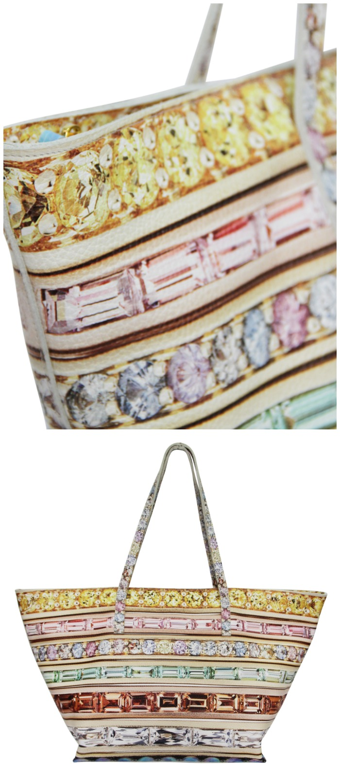 A beautiful gemstone-inspired tote bag and belt from the Paige Gamble x Jane Taylor Jewelry collaboration.