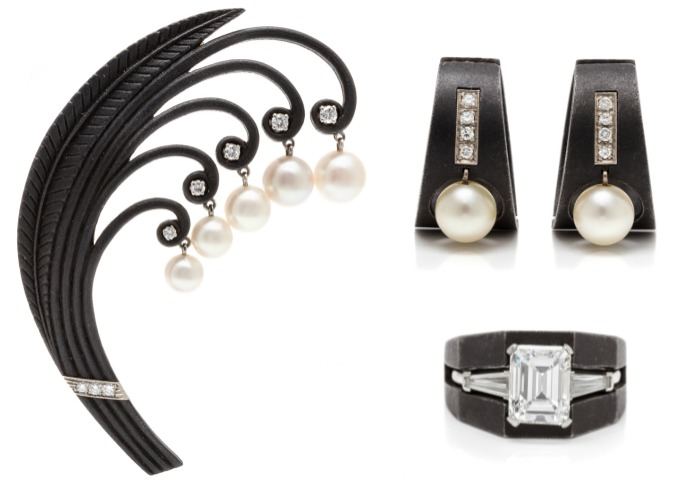 A selection of fabulous and unusual Art Moderne blackened steel, white gold, cultured pearl and diamond jewelry by Marsh & Co.