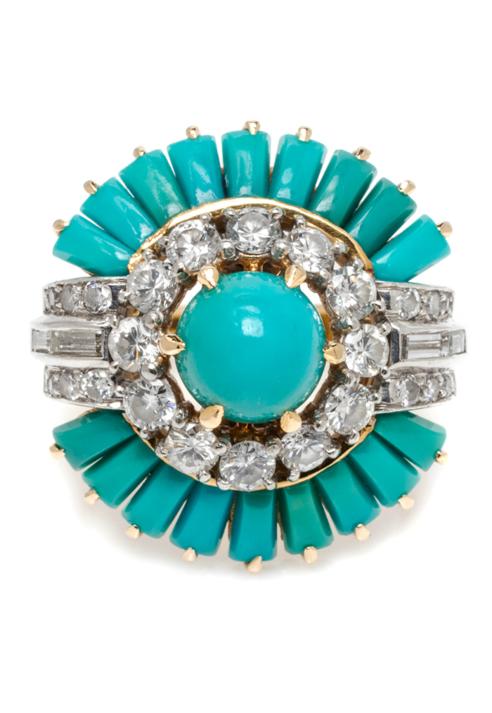 I love this turquoise and diamond ring! It's headed to the auction block in Leslie Hindman's September sale.