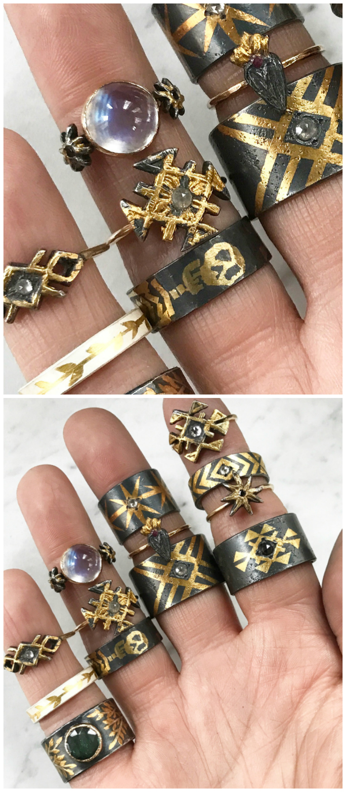 Rings by Acanthus! In oxidized sterling silver with gold.