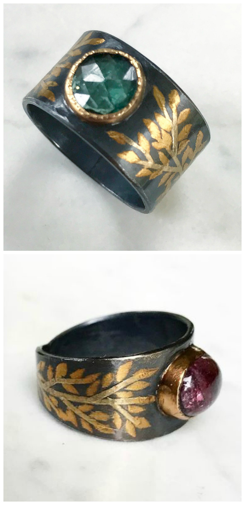 Two beautiful gemstone rings by Acanthus. In oxidized sterling silver with gold.