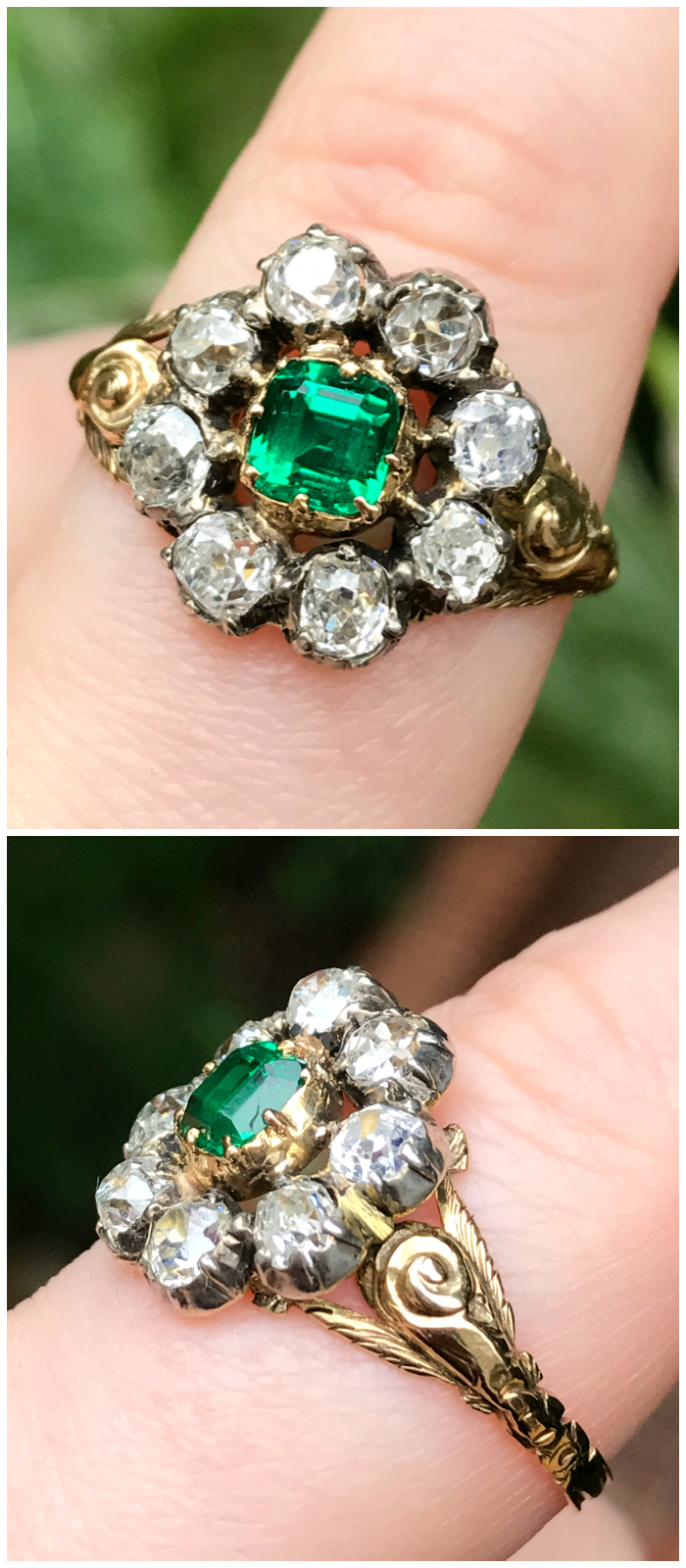 A rare and beautiful antique emerald and diamond ring. This beauty dates to the Georgian era. From Three Graces.