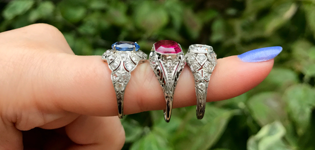 Rings galore at The Three Graces jewelry store.