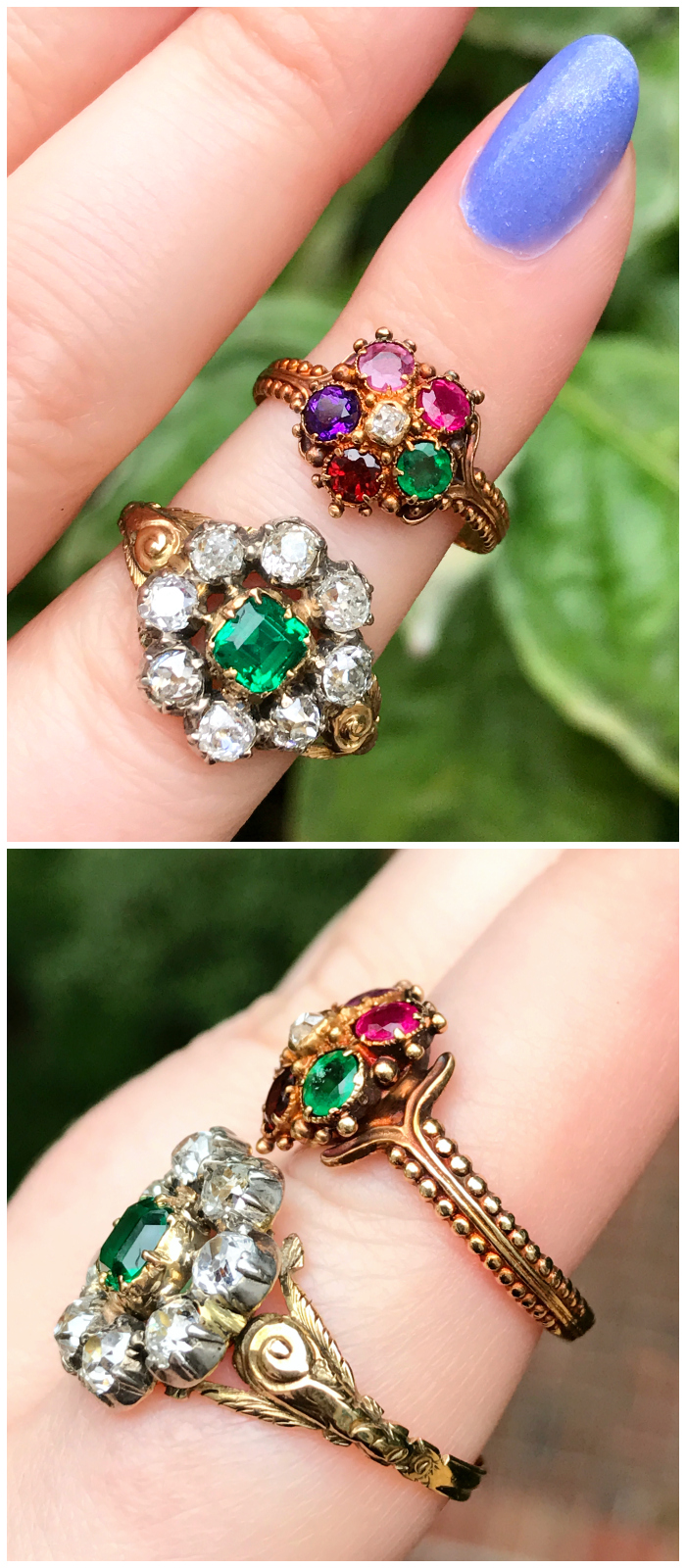 Two utterly stunning Georgian era antique rings from Three Graces. Emerald with diamonds, and an acrostic multi gem ring that spells REGARD.