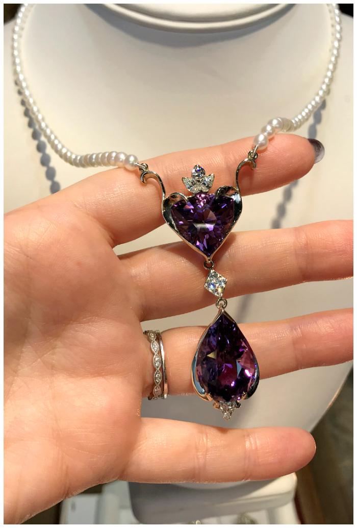 A beautiful one of a kind necklace by Hunt Country Jewelers! With diamonds, pearls, and two beautiful amethysts.