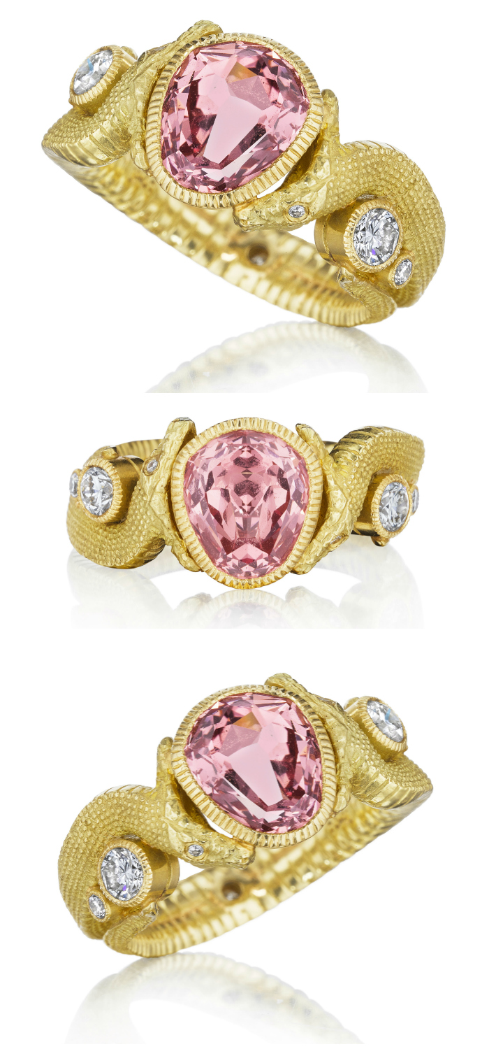 Anthony Lent Bespoke Twin Serpent ring with Mahenge Garnet and diamonds in 18k yellow gold.