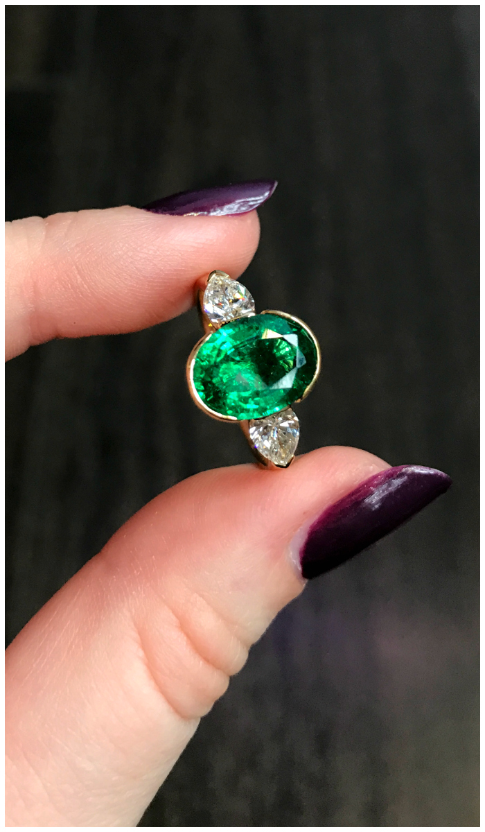 Because Hunt Country Jewelers imports and cuts their own gemstones, they are able to offer gems of exceptional quality. This emerald is a perfect example.