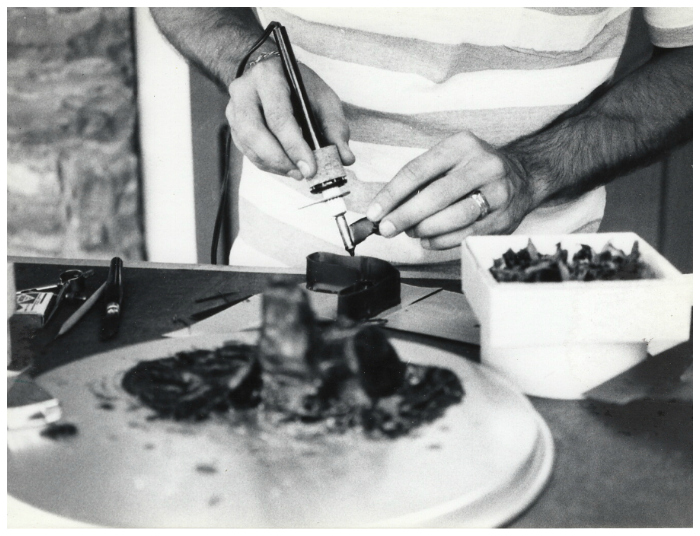 Ed of Hunt Country Jewelers carving wax for a large custom project 1979.