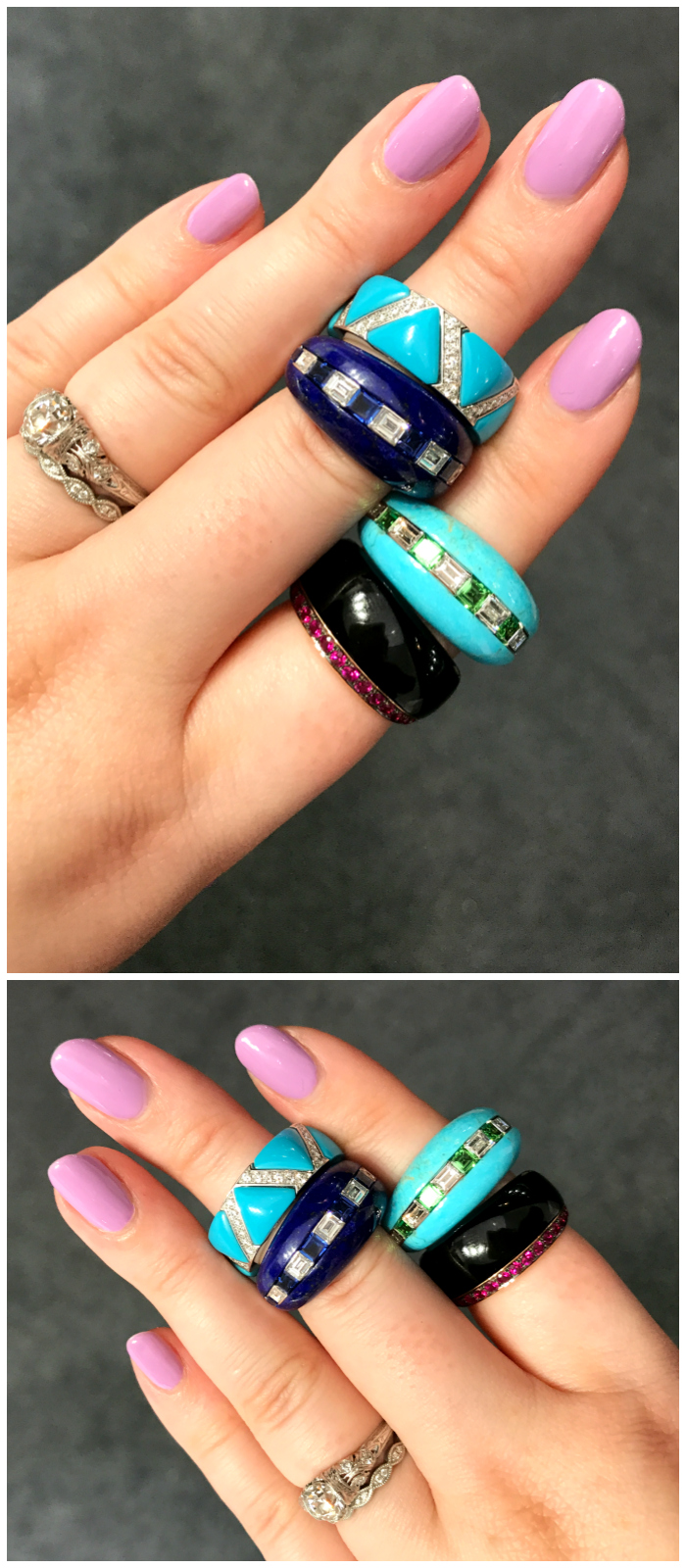 I love these rings from Baenteli! Hardstones like lapis, turquoise, and onyx set with precious stones.