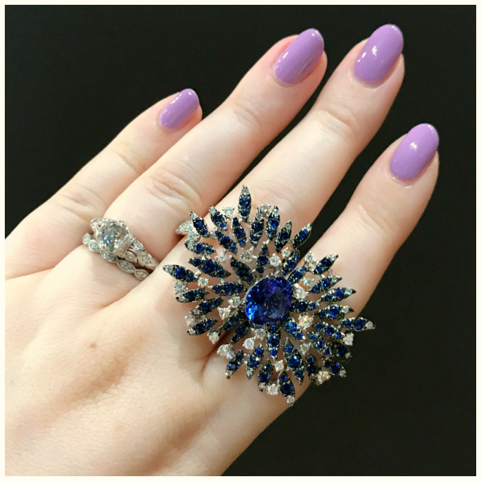 I love this double finger ring by Casato! It features tanzanite, sapphire, and diamonds. Discovered at VicenzaOro.