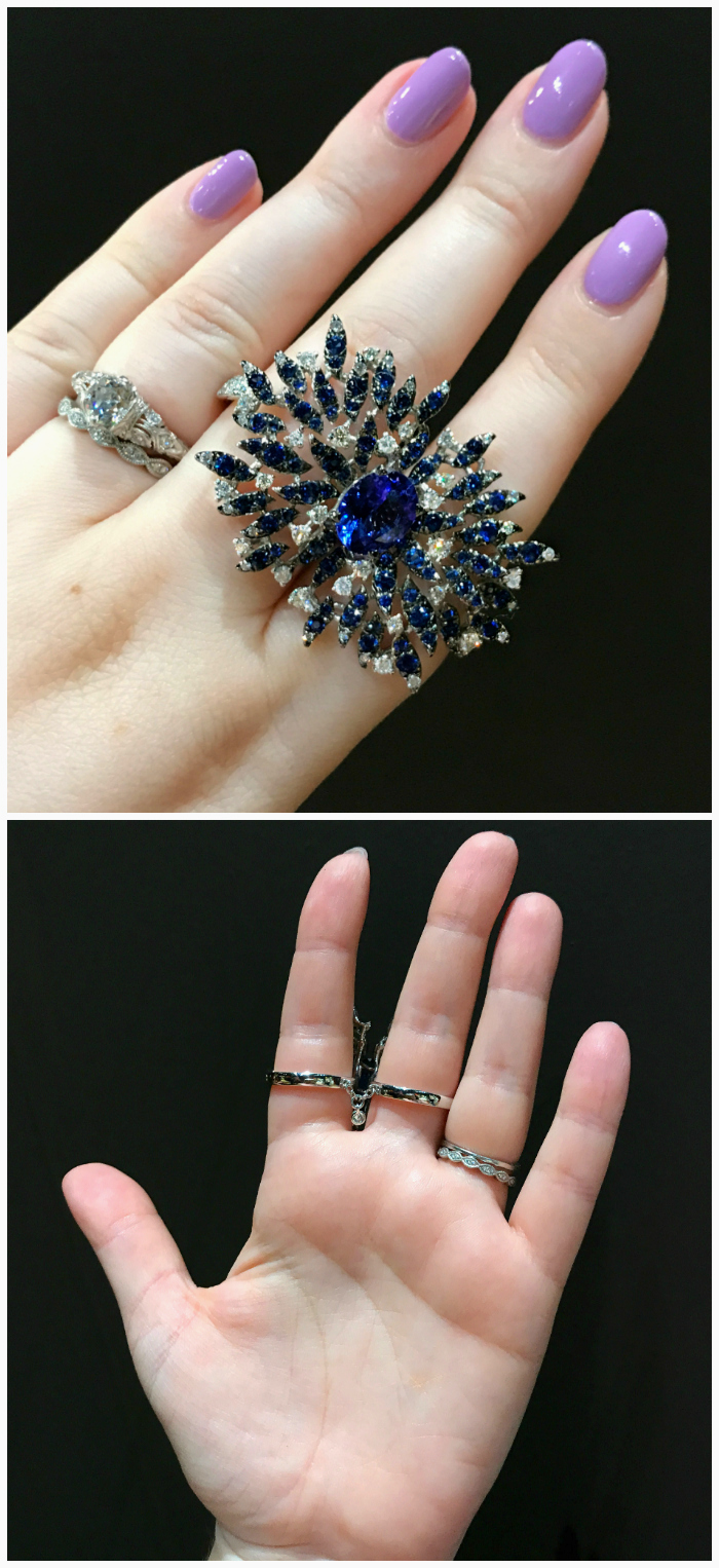 I love this double finger ring by Casato! It features tanzanite, sapphire, and diamonds. The construction made it the most comfortable two finger ring I've ever tried on.