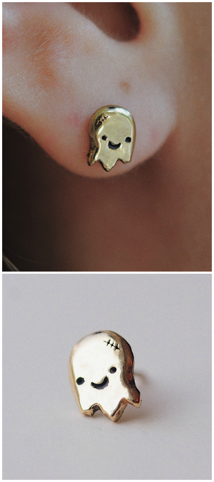 The only thing that's spooky about this yellow gold Ghostie ear stud frm Sofia Zakia's Halloween Horror collection is how adorable it is!