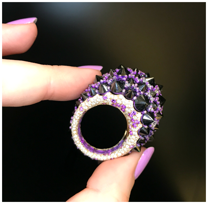 This ring is so badass! It's by Mattioli, and features incredible reverse set black diamonds. Discovered at VicenzaOro.