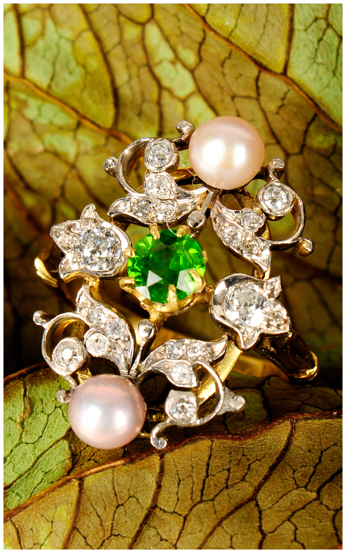 A beautiful antique demantoid garnet, diamond and seed pearl dress ring!