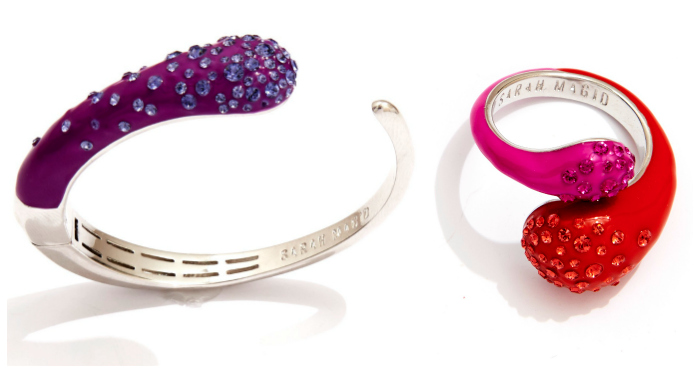 A beautiful, bright cuff and ring from Sarah Magid's Candy Drop collection.