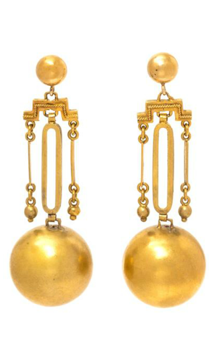 A pair of antique Victorian era gold earrings.