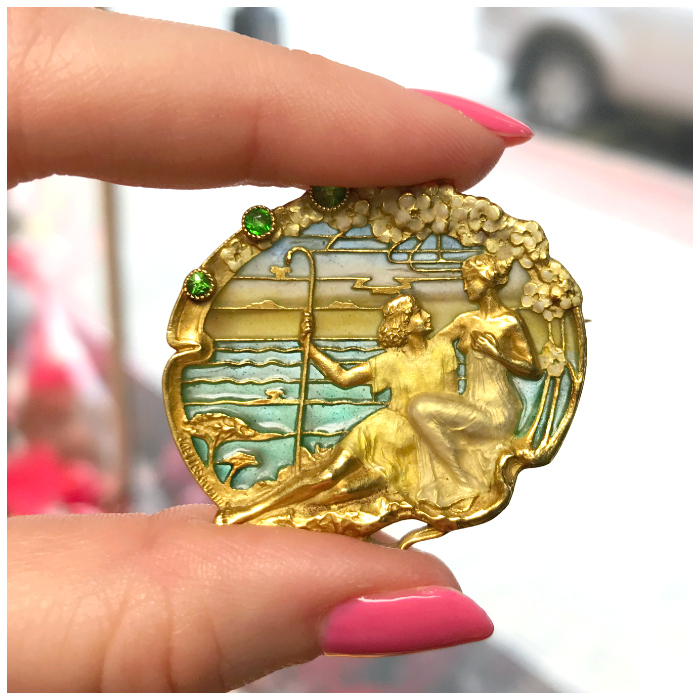 An exceptional antique Art Nouveau brooch from Joden. Look at that dreamy plique-a-jour enamel!