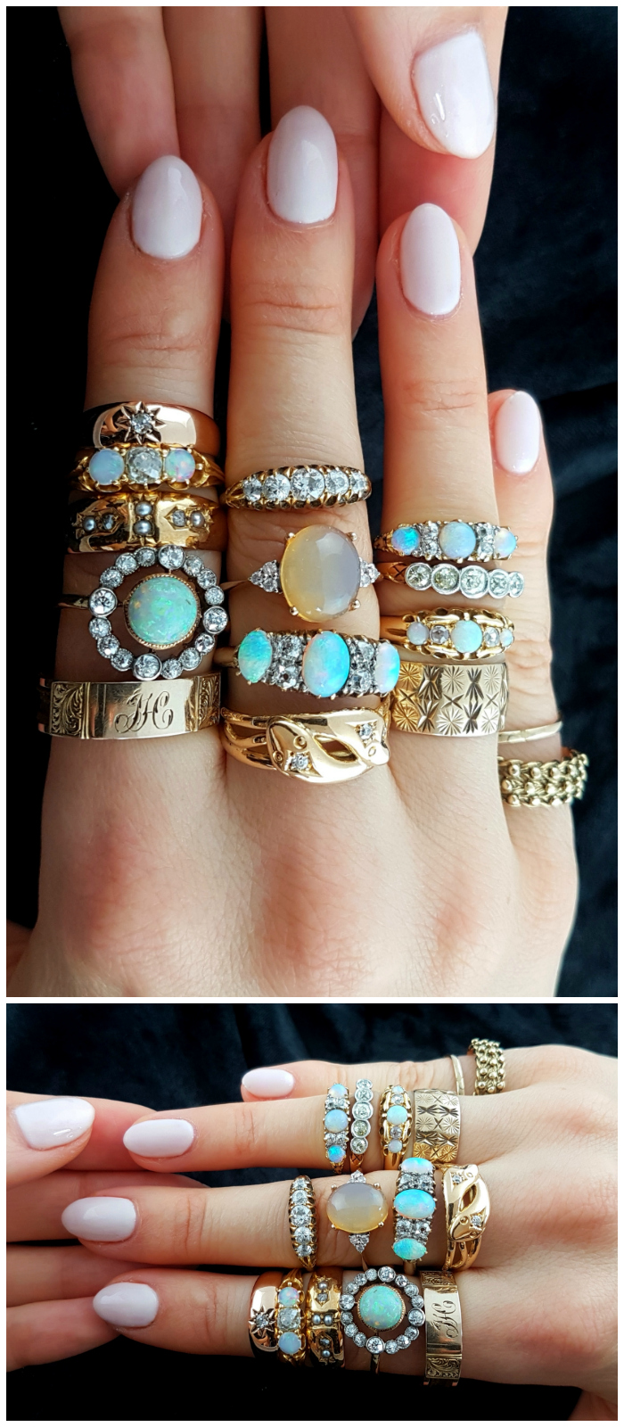 Beautiful vintage and antique rings from Lillicoco! Opals and diamonds and gold, oh my!