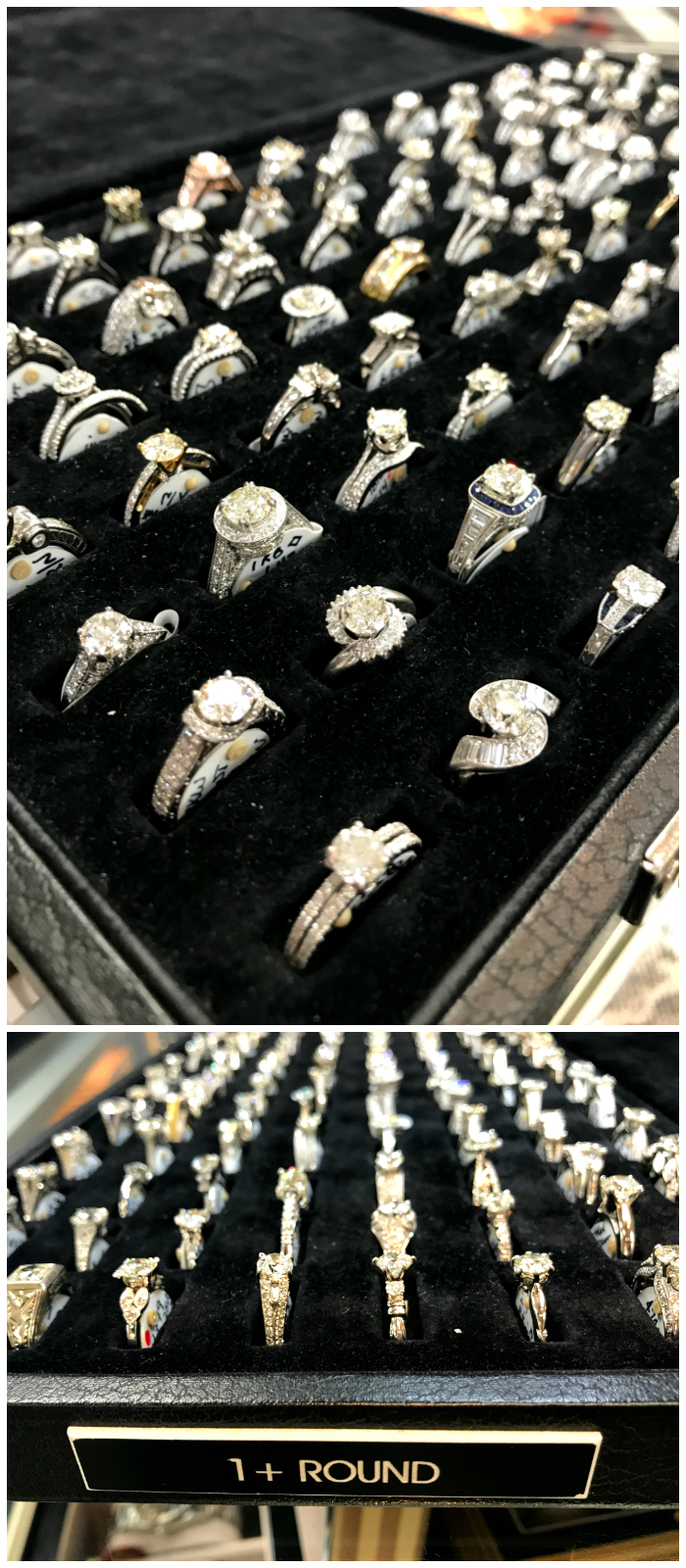 Joden's selection is incredible - especially their collection of engagement rings. This is just one box, which shows only the round brilliant cut rings with diamonds over one carat.