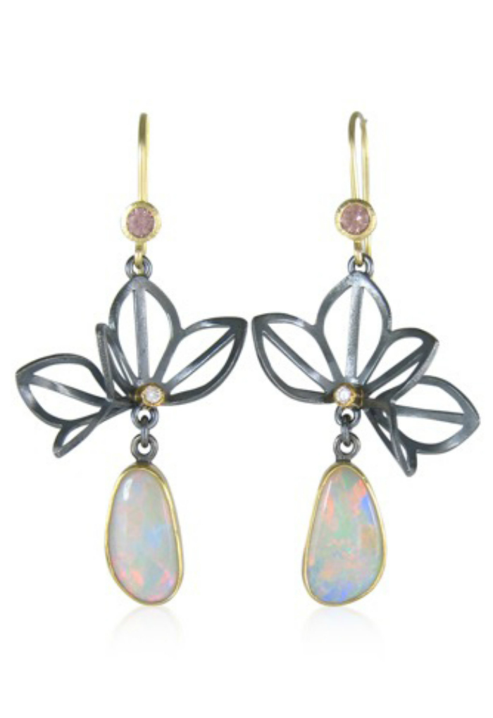 One of kind opal earrings by Karin Jacobson.