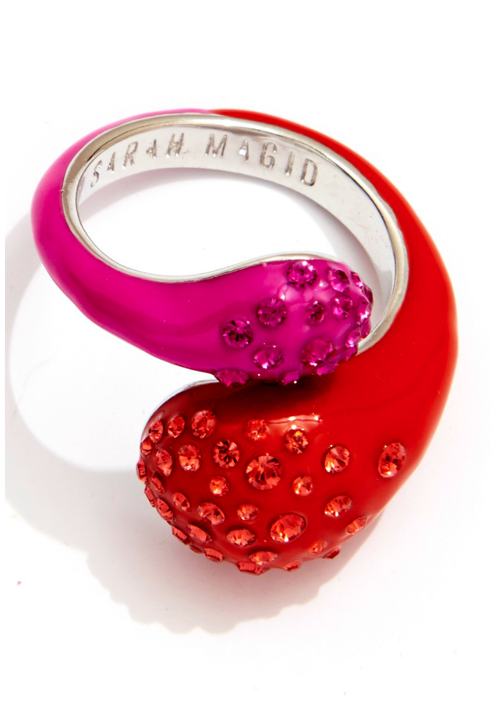 Sarah Magid Candy Drop ring in cosmo pink with Swarovski crystal.