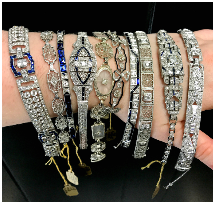 Vintage Art Deco bracelets from Joden! Platinum, gold, diamonds, and sapphires - all the good stuff! I love antique jewelry. .