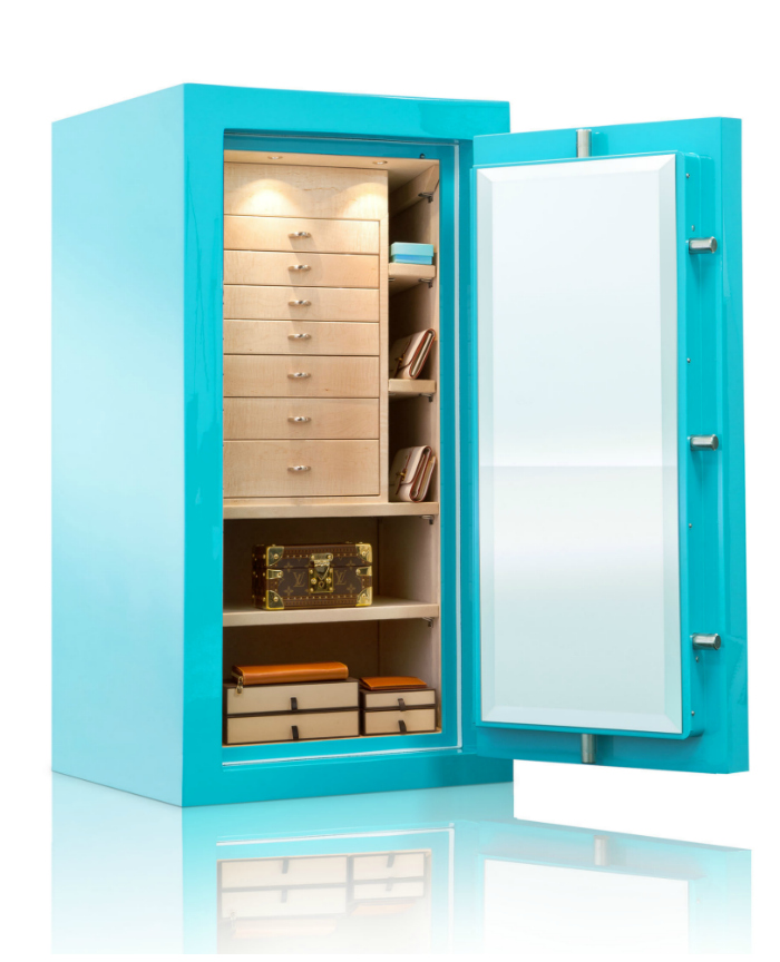 A beautiful custom jewelry safe by Brown Safe! I love that the outside is Tiffany blue.