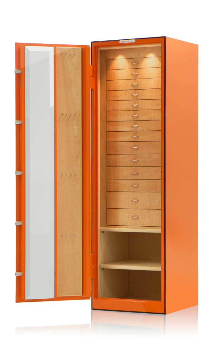 A beautiful custom jewelry safe by Brown Safe!!! This is the dream. Look at all those drawers!!