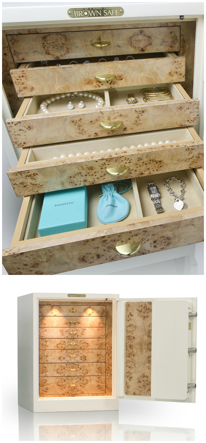 A beautiful custom jewelry safe by Brown Safe! You can design your own, made perfectly to fit your own jewelry collection.