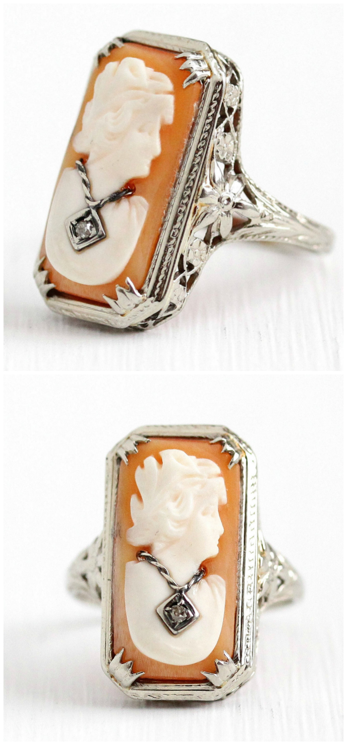 A vintage cameo ring with filigree and diamond details. I love that she's wearing a necklace!