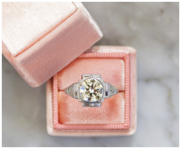 A wonderful Art Deco era vintage engagemnet ring with a 2.23 carat diamond in a platinum bezel setting. From Victor Barbone.
