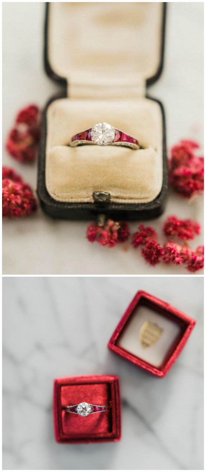 A wonderful vintage engagement ring from the Art Deco era, circa 1920. With a 1.06 carat center diamond and set with rubies!