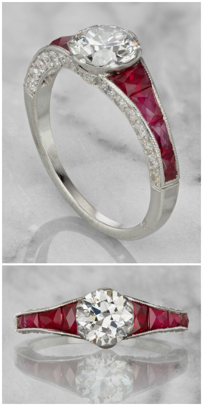 A wonderful vintage engagement ring from the Art Deco era, circa 1920. With a 1.06 carat center diamond and set with rubies.