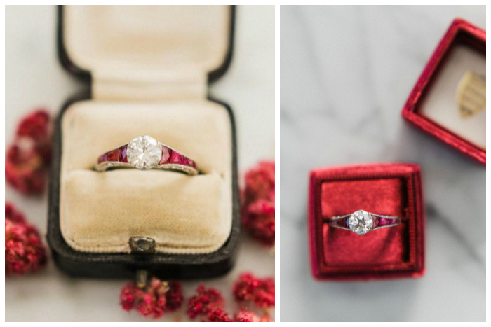 A wonderful vintage engagement ring from the Art Deco era, circa 1920. With a 1.06 carat center diamond and set with rubies!!