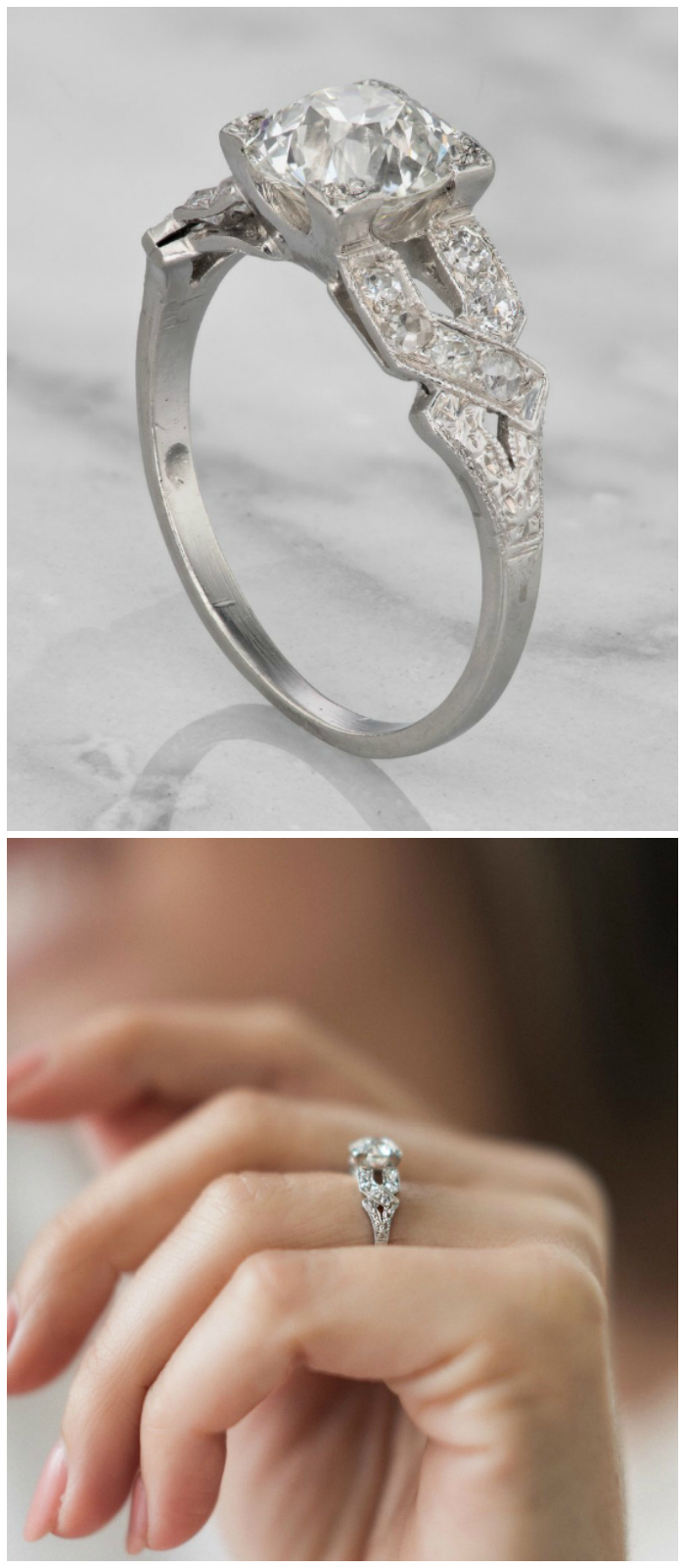 An Art Deco era vintage engagement ring with a 1.45 carat old European cut diamond.