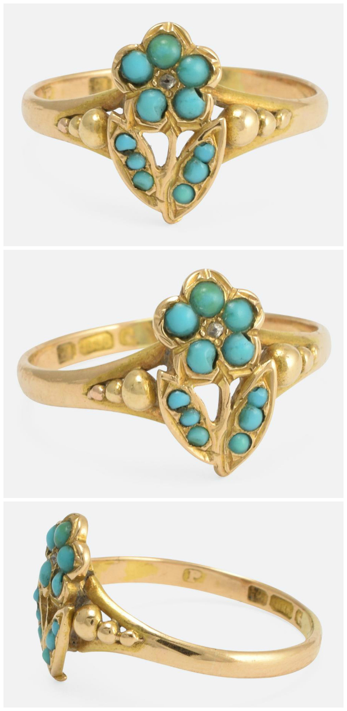 An antique Victorian turquoise and diamond ring.