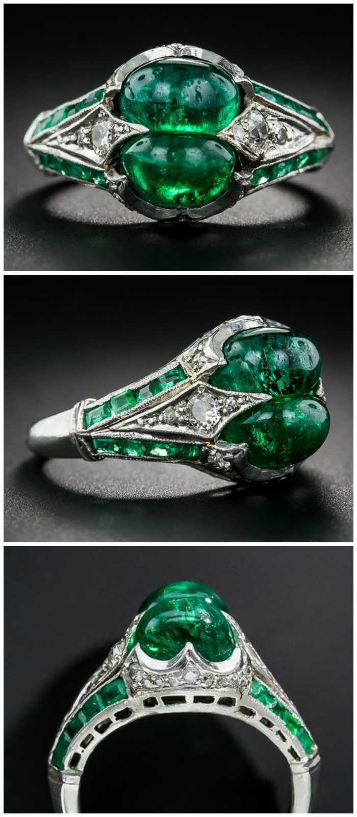 An incredible antique Art Deco twin emerald and diamond ring.
