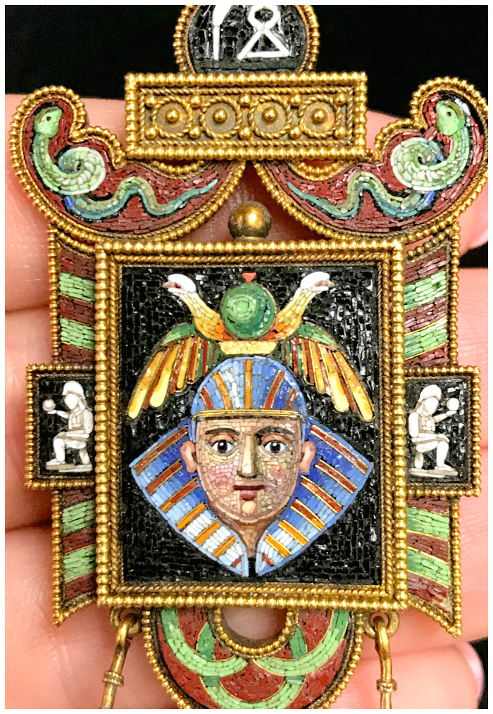 An utterly fantastic masterpiece of micromosaic jewelry. This brooch is an example of Egyptian Revival jewelry from the Victorian era. Spotted at Joden.