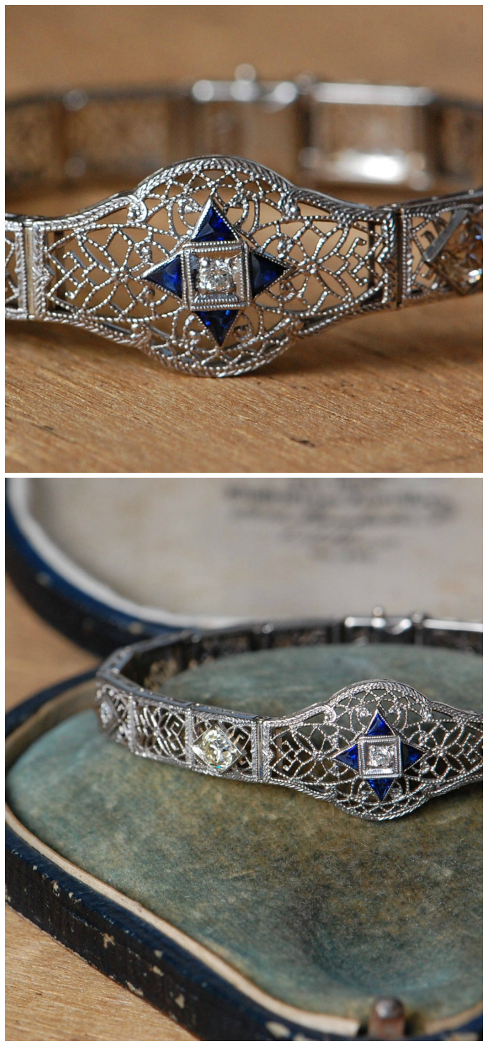 Antique Art Deco platinum and diamond bracelet with sapphires. Beautiful!