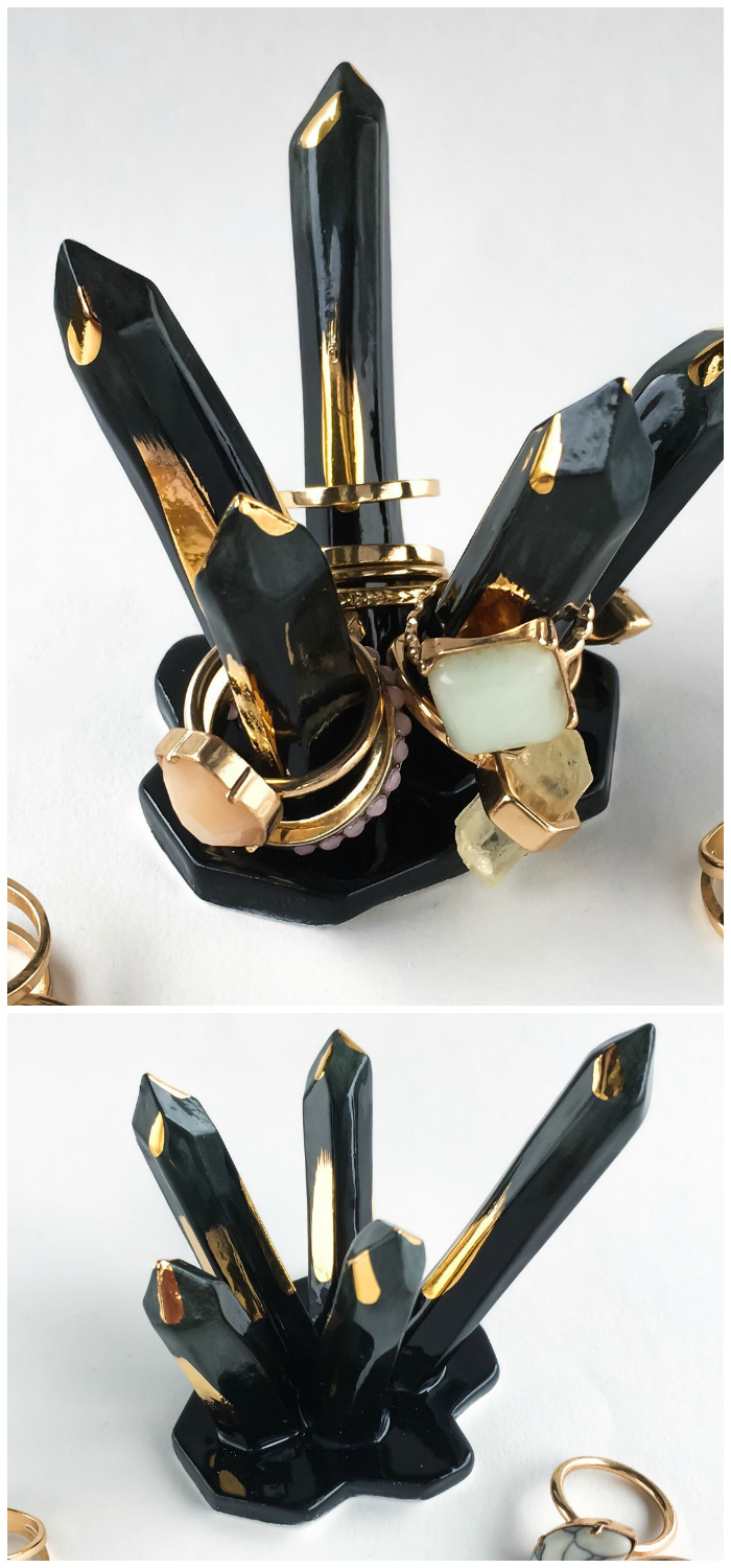 Beautiful crystal-inspired ceramic ring holders by Modern Mud! In black with gold accents.