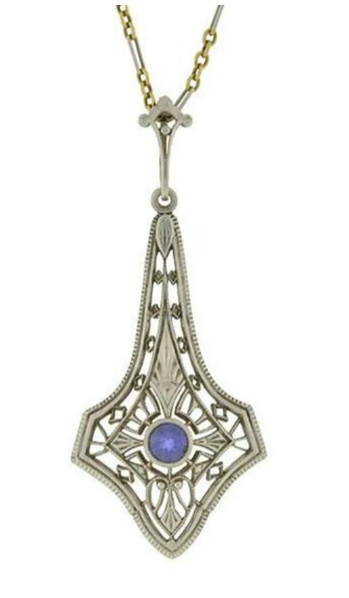 Krementz Edwardian platinum and sapphire lavalier pendant necklace.