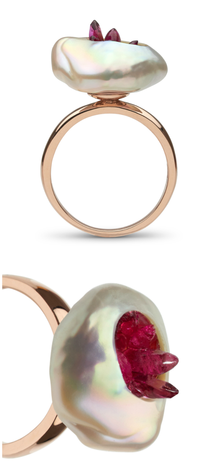 Pink freshwater souffle pearl is carved and filled with reclaimed rubies set on 14K gold. This beautiful pearl ring is by little h.