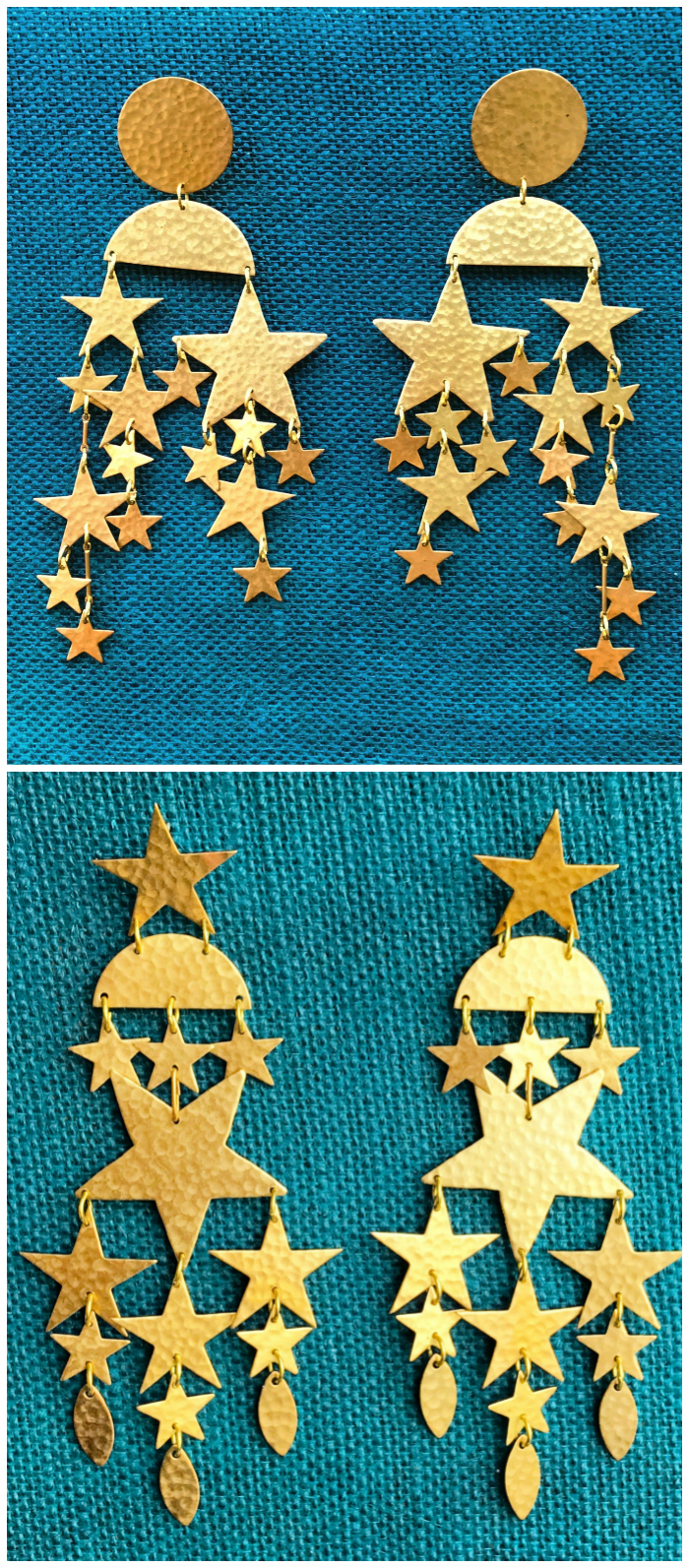 The fabulous Andromeda and Cassiopeiae star earrings by We Dream in Colour. These major statement earrings are over 4 inches long!